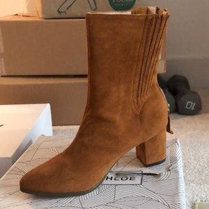Tan western ankle bootie